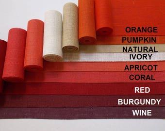 3 Inch Burlap Ribbon - Orange, pumpkin, apricot, coral, red, burgundy, wine