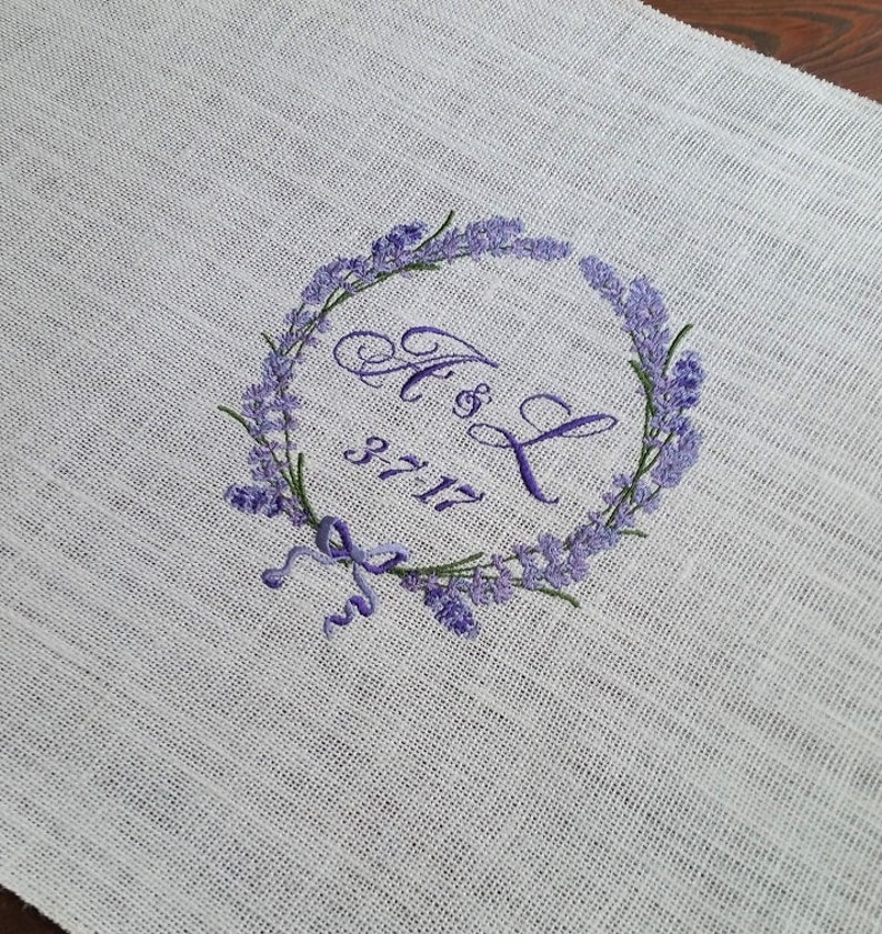 Lavender Wedding Table Runner with Lavender Wreath /& Monogram on Ivory Burlap Bride and Grooms table Sweetheart table Decor