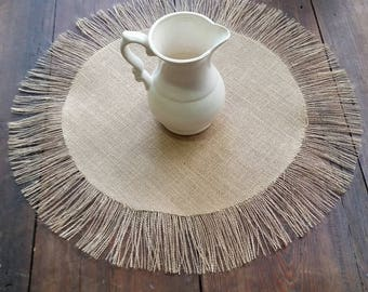 Small Round Burlap Overlay or Placemat with Fringe - Many colors available