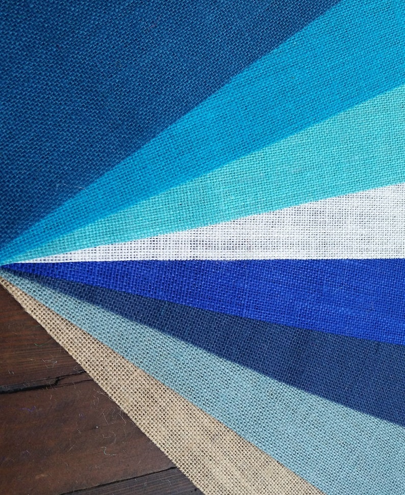 Aqua Ocean Turquoise Sky Ivory or Natural Electric Navy 12 inch wide BLUE Premium Burlap Runner  Roll