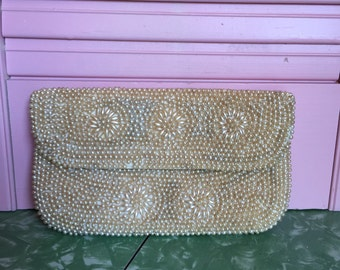 50s Cream Pearl Evening Bag from Japan