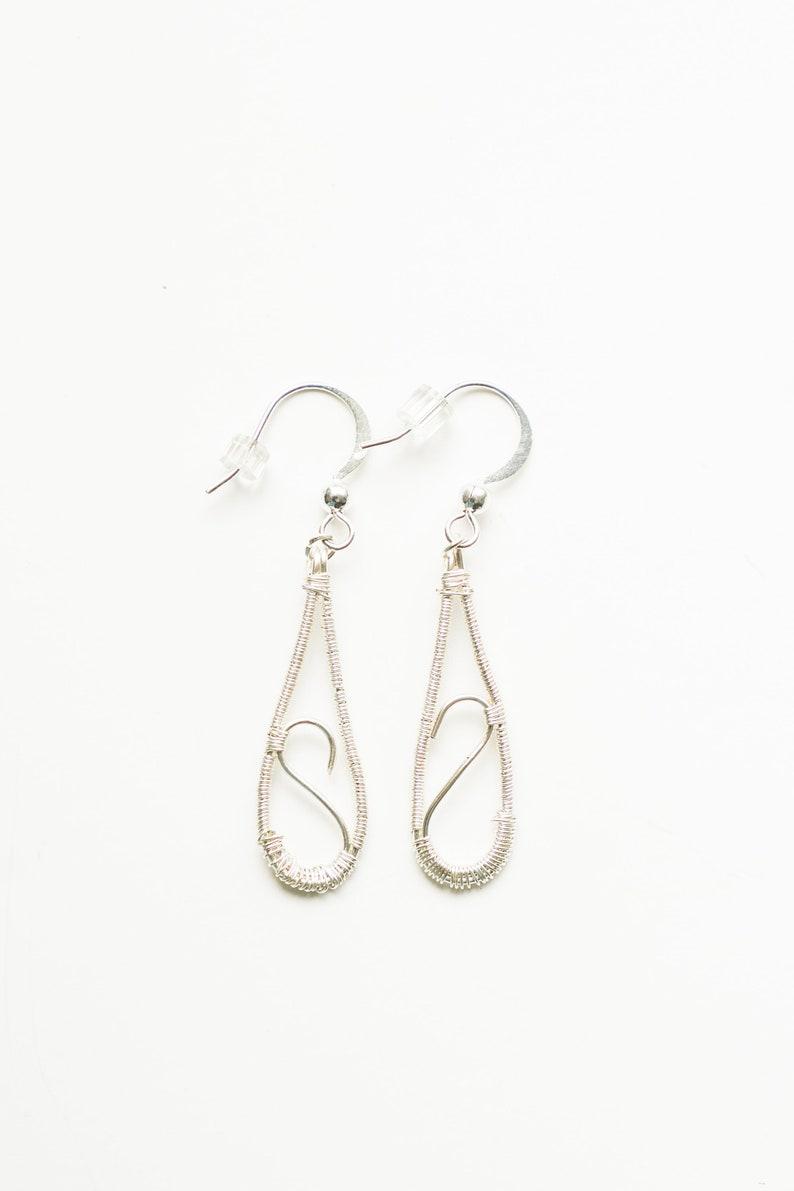 Silver wire earrings  silver drop earrings image 0