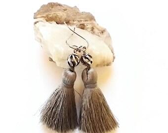 Tassel earrings silver - tassel earrings boho - tassel earrings bead