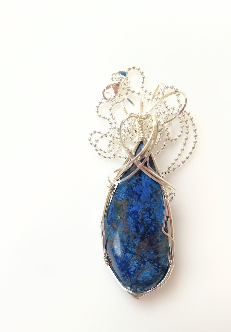 Natural stone pendant  wire wrapped pendant image 0