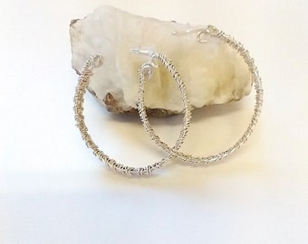 Sterling silver hoop earrings - sterling silver wire weave earrings - silver woven earrings