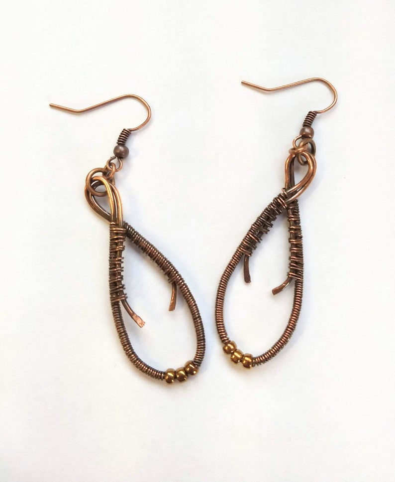 Copper wire wrap earrings  wire wrapped earrings  Mothers image 0