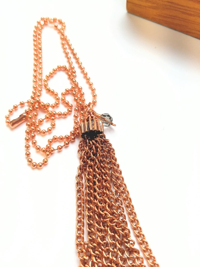 Copper tassel necklace  copper chain necklace image 0