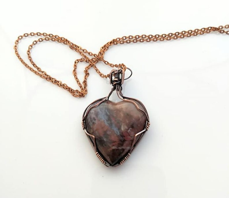 Heart pendant  wire wrapped heart necklace image 0