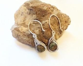 Sterling silver drop earrings - herringbone wire earrings - wire wrap earrings