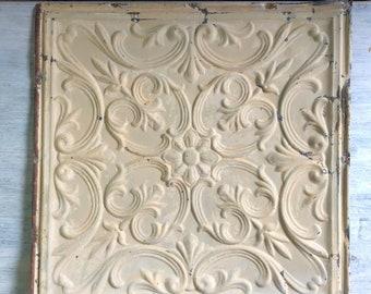 1890s antique salvaged decorative tin ceiling tile 24 x 24 100 18i tan mocha metal - Antique Ceiling Tiles