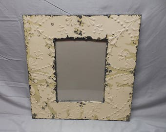 Tin Ceiling Metal Picture Frame 11x14 Nickel Shabby Recycled Etsy