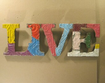 Tin Ceiling Wrapped 8 Letter Z Patchwork Reclaimed Metal Mosaic Wall Hanging S1914-14