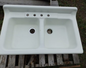 Genial Vtg Cast Iron White Porcelain Double Basin Kitchen Sink Old Plumbing  1664 16 **PICK UP ONLY Or Buyer Arrange Shipping**Oneonta, Ny 13820
