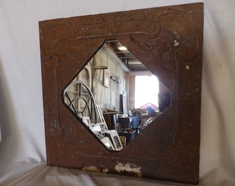 AUTHENTIC Vintage Tin Ceiling Mirror Shabby Recycled CHIC 23x23 231-17P
