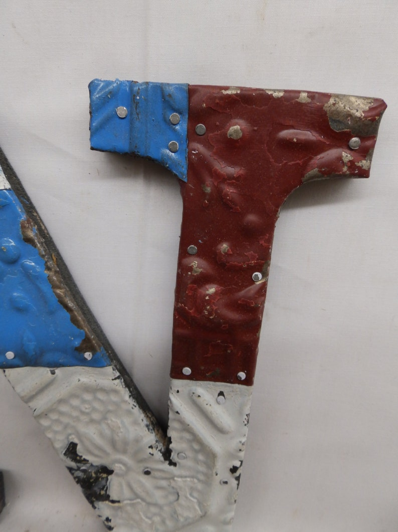 Tin Ceiling Wrapped 8 Letter N Patchwork Reclaimed Metal Mosaic Wall Hanging S1987-14