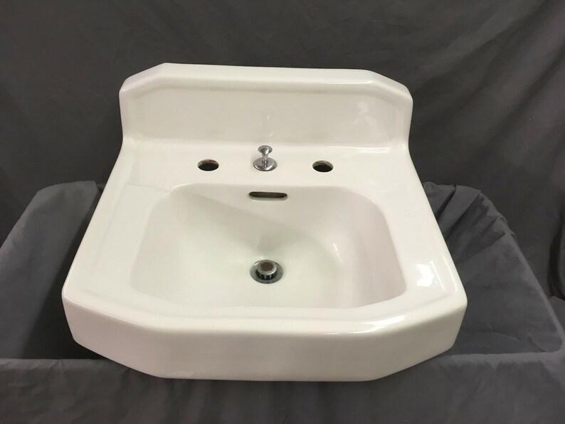 Vintage Porcelain Bath Sink Faucet White Vtg In Short Supply Architectural & Garden
