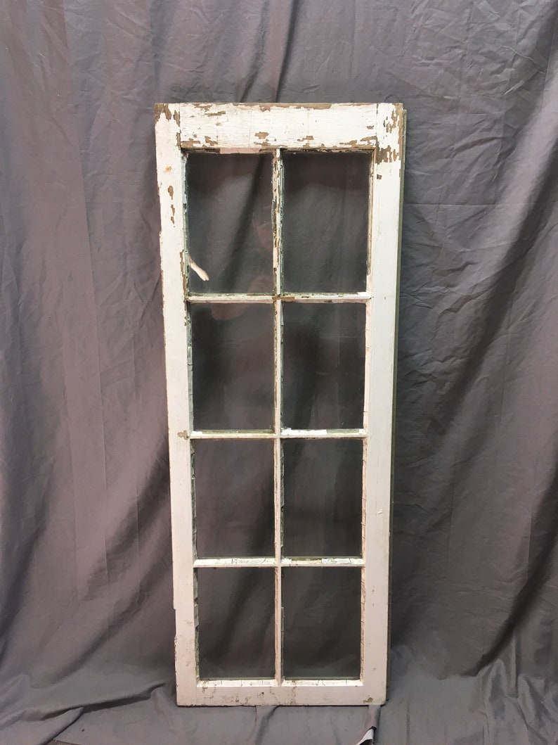 Antique Casement 8 Lite Window Sash Cabinet Cupboard Door image 0