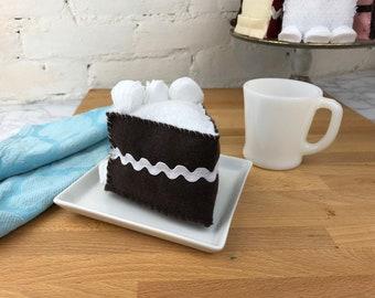 DEVILS FOOD Felt Cake    felt food, tea party food, pretend kitchen, gift for kids, birthday cake, dark chocolate, double layer cake