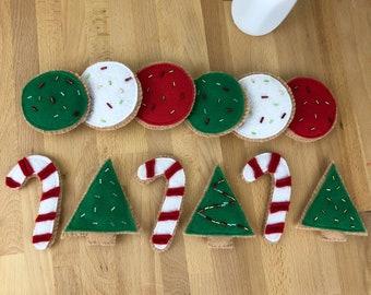 half dozen CHRISTMAS Felt Frosted Cookies   felt food, felt cookies, imaginative play, pretend kitchen, christmas cookies, trees, candy cane