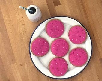 half dozen MEDIUM PINK Round Felt Frosted Cookies    felt food, felt cookies, imaginative play, pretend kitchen, pink frosting, tea party