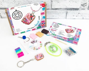 Biscuit Themed Jewellery Craft Kit. Makes 3 Things: Necklace, Bracelet, Keyring. Kids Kit. Party Activities. Creative Gifts. Stocking Filler