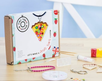 Fruit Tart Themed Jewellery Craft Kit. Makes 3 Things: Necklace, Bracelet & Keyring. Children's Craft Activities. Party Bags Stocking Filler