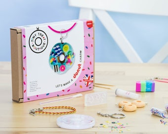 Donut Theme Jewellery Craft Kit. Makes 3 Things: Necklace, Bracelet & Keyring. Kids Craft Kit. Creative Stocking Filler. Jewellery Making.