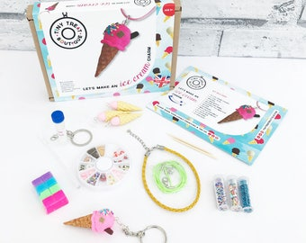 Ice Cream Theme Jewellery Making Craft Kit. Makes 3 Things: Necklace, Bracelet & Keyring. Kids Creative Party Activities. Stocking Filler
