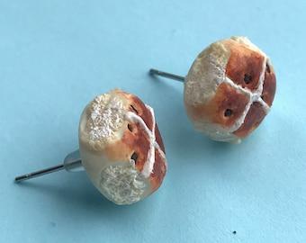 Handmade Hot Cross Bun Earrings Studs. Birthday Present. Stocking Filler. Statement Earrings. Polymer Clay Earrings