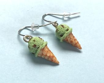 Handmade Mint Choc Chip Ice Cream Earrings. Birthday Present. Stocking Filler. Statement Earrings. Polymer Clay Earrings