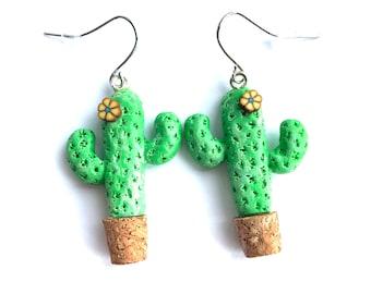 Handmade Cactus Earrings. Birthday Present. Stocking Filler. Statement Earrings. Polymer Clay Earrings
