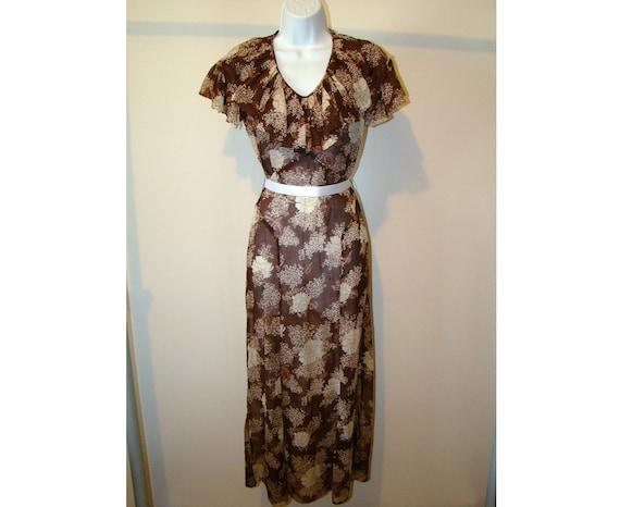 Vintage Brown 1930's Dress Floral Print 30s Gown R