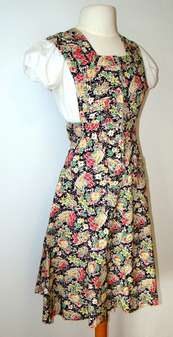 Novelty Print 1940's Pinafore Dress 40s - image 2