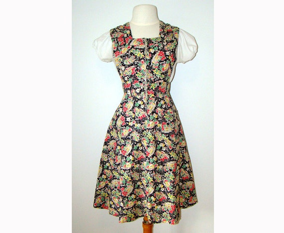 Novelty Print 1940's Pinafore Dress 40s - image 1