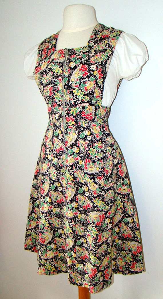 Novelty Print 1940's Pinafore Dress 40s - image 4