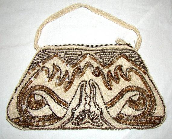 Art Deco 1920's Purse 20s Beaded Handbag