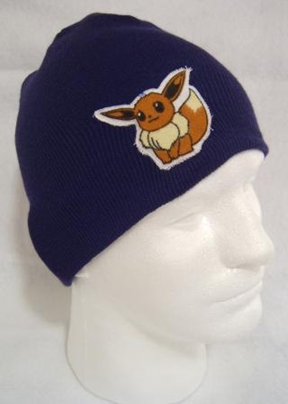 Pokemon Eevee Beanie Skullcap Hat made with up-cycled  2a407e40ce15