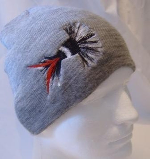 Moth Fishing Fly Lure Beanie Skullcap Hat Black White Red Lure on Gray  Embroidery Embroidered Fisherman Fishing Hunter Dad Father Man Gift dd9b40c1b45