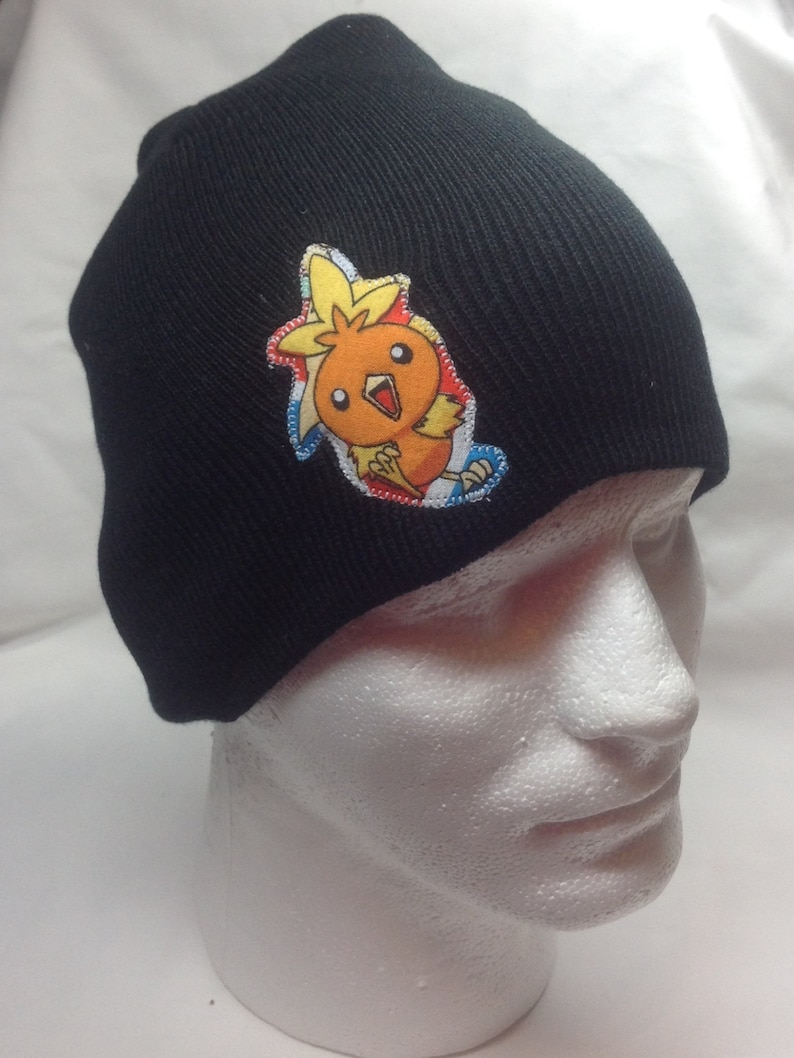Pokemon Torchic Beanie Skullcap Hat made with up-cycled  868bb7f4375e