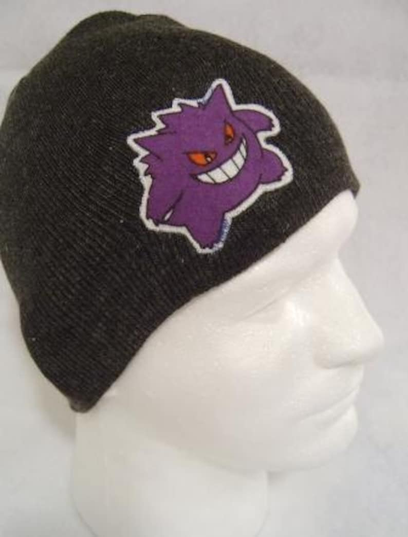 Pokemon Gengar Beanie Skullcap Hat made with up-cycled  b3487b025a58
