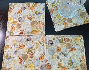 Set of 4 Fabric Coasters, Cotton Coasters, Sea Shells, Shells