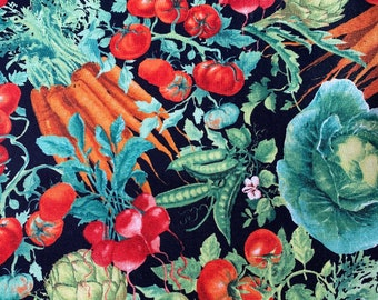 Fabric Destash -  Vegetables, Cabbages, Tomatoes, Carrots, Peas 1 Yard x 44 ins wide
