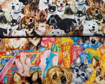 Fabric Destash -  Cats and Dogs, Animals, Pets,  Dogs 25 x 22, Colorful Cats and Dogs -  Ready to Ship