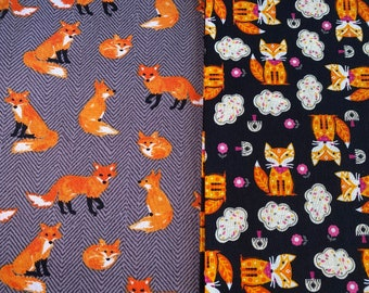 Fabric Destash -  Fox, Foxes, Animals - 1/2 Yard each - 44 inches wide - Ready to Ship