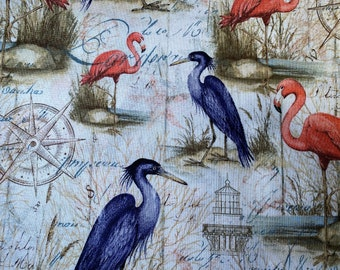 Fabric Destash -  Flamingos and Herons - 1 Yard by 44 ins wide -  Ready to Ship