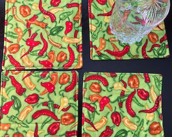 Set of 4 Fabric Coasters, Green Peppers, Chili Peppers, Hot Peppers