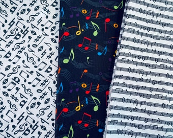 Fabric Destash -  3 piece Musical Bundle 1/2 yard each. Black 44 wide, White notes - 44 wide and W Music scales - 42 wide