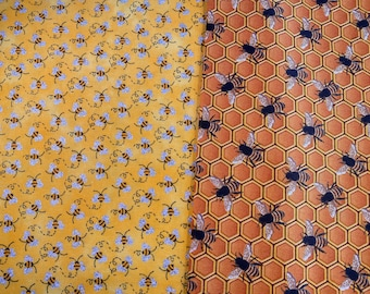 Fabric Destash -  Bees, Honey Bees, Glitter Bees - 1/2 Yard each - 44 inches wide - Ready to Ship