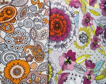 Fabric Destash -  Paisley and Floral 2 piece bundle Orange Paisley 17 x 44, Florida 15 x 44 -  Ready to Ship