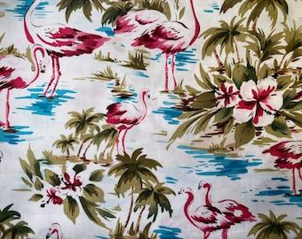 Fabric Destash -  Flamingo, Palm Trees and Hibiscus Trees  - 30 x 44
